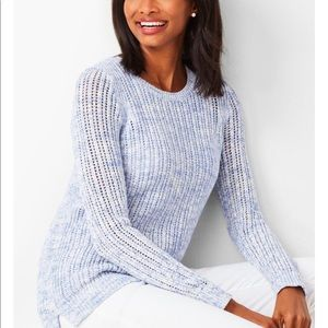 NWT Talbots Open Stitch Space Dyed Blue Sweater